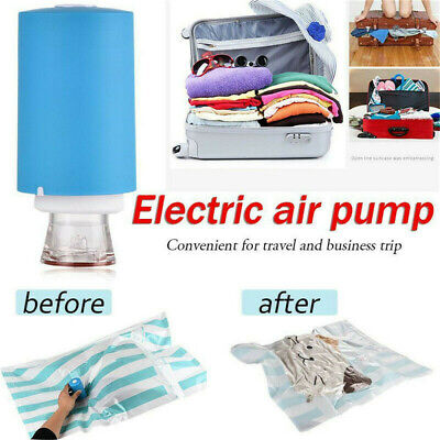 Mini Automatic Compression Vacuum Pump Portable Electric Air 5pcs Sealer Bags UE