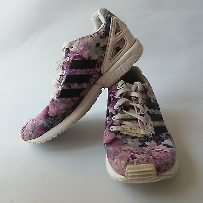 w10 - Adidas Originals Junior Girls Size 2 Zx Flux Trainers Floral Flower Print