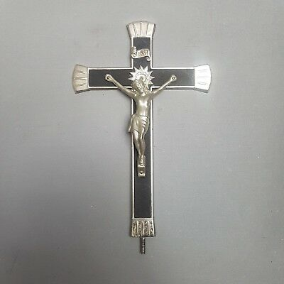 P28 Vintage 20thc Metal Crucifix Silver Black to be mounted on base from Convent