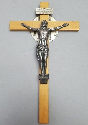 PC9 - Vintage Beech Metal Crucifix Wooden and Jesus Metal with Hebrew /Religious