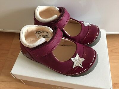 315ebb2af Brand New Clarks Girls Shoes 5.5F Softly Gina First Plum Leather With Box  RRP£