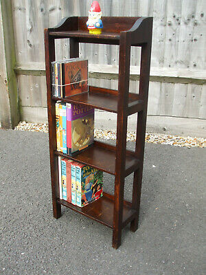 Small antique Arts and Crafts oak latticed side bookcase, very neat space saver