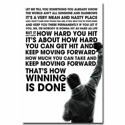 Rocky Balboa Motivational Quote Sylvester Stallone Silk Poster 12x18 24x36