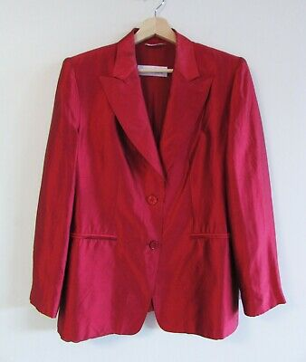 Max Mara Size 14 Dark Red Shot Silk Collared Chiffon Lined Classic Blazer Jacket