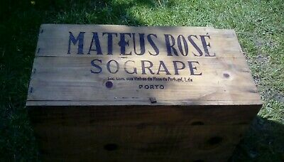 wooden wine crate MATEUS ROSE SOGRAPE NO LID  21 x 13 X 10 inches