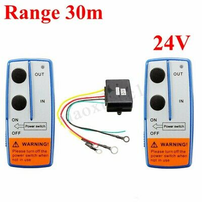24V Volt Electric Wireless Winch Remote Control Twin Handset Kits 30M Fr