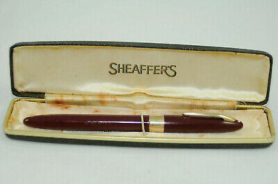 "Vintage Sheaffer Snorkel Statesman Burgundy Fountain Pen,c1955 ""VGC with defect"""