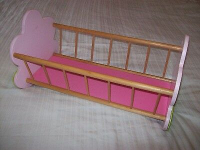 Dolls Rocking Bed/Cot/Crib/Cradle - Wooden - Pink/Green ** COLLECTION ONLY **