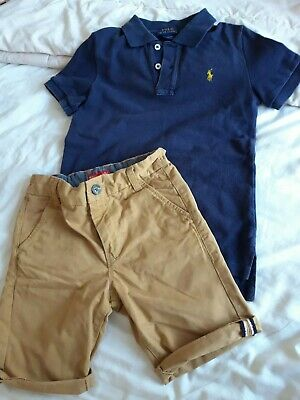 Boys Ralph Lauren polo and Next Chino shorts bundle age 6-7 years