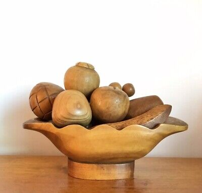 Vintage Retro Wooden Wood Carved Fruit & Bowl Display Decoration Grapes Banana