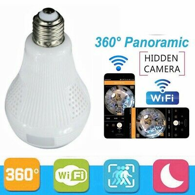 360° Panoramique Cachée Espion Caméra IP Ampoule Wi-Fi Objectif Grand Angle CCTV