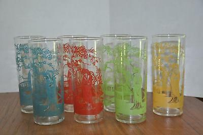 7 Vtg MCM Asian Oriental Themed Collins Glasses Federal NICE
