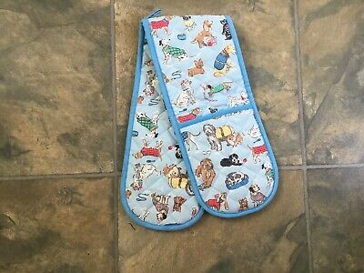 Bnwot Cath Kidston Blue Dogs Double Oven Gloves