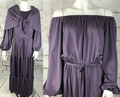 Vintage 70s Purple Peasant Maxi M Dress Shawl Boho Draped Off Shoulder Hippie