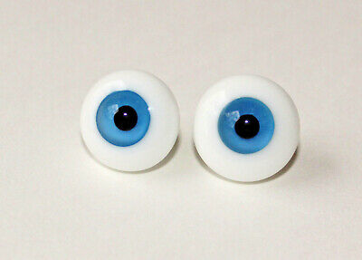 2 pair Vintage JMSCO Solid Round Paperweight Glass Doll Eyes 18 mm Blue
