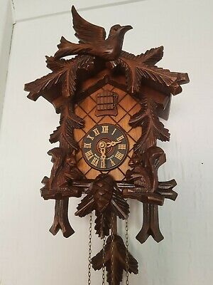 STUNNING ANIMATION BLACK FOREST CUCKOO CLOCK / switch off lever/Fully Serviced