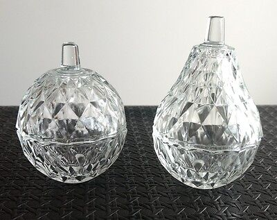 VTG Glass Fruit Trinket Holders Apple Pear Clear Cut Faceted with Lids Italian