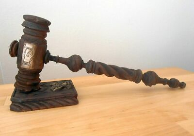 Vintage Hand Carved Masonic Gavel + Block With Concealed Wax Seal ...