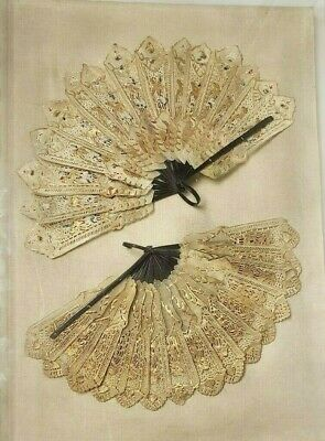RARE PAIR Antique 19th C Victorian French HAND PAINTED HAND FANS in SHADOW BOX