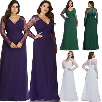 Ever Pretty Us Plus Size Long Sleeve Evening Gowns Lace