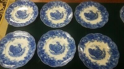 """Antique Wedgwood & Co L 10"""" Flow Blue Scalloped And Embossed In Clytie Pattern"""
