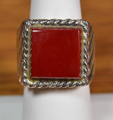 NWT 925 Sterling Silver Red Stone Fashion Ring Sz 8