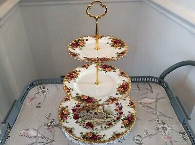 Royal Albert Old Country Roses Bone China 3 TIer Cake Stand.