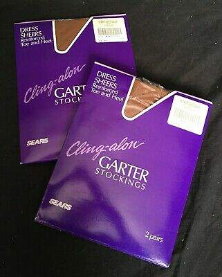 fc247536c Vintage Sears Cling-alon Nylon Garter Stockings Reinforced Heel   Toe 4 Pair  MIP