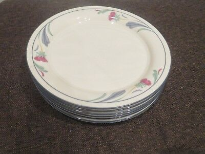 "6 Lenox Chinastone Poppies On Blue SALAD PLATES 8 1/2"" China Dinnerware D5"
