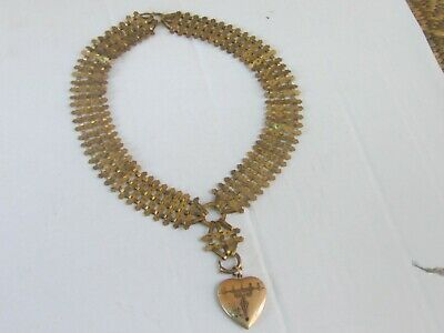 RARE AMAZING Antique Victorian Wide Gold Filled Book Chain with Heart Pendant