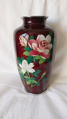 Stunning Large Japanese Blood Red Ginbari Cloisonne Vase With Roses