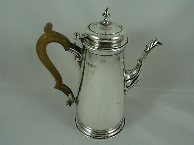 QUALITY GEORGE II style solid silver COFFEE POT, 1909, 462gm