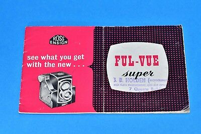 "Ensign Ful-vue Super ""see what you get with"" owners manual instructions ENGLISH"