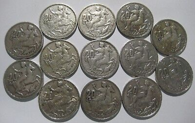 13 x 83.5% Silver Greek 20 Drachmai 1960 Paul I.  VF - AUNC Greece Drachma