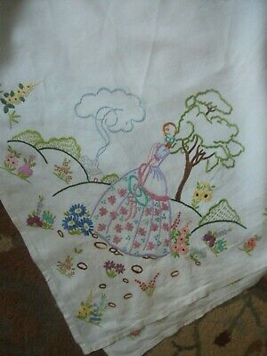 """Lovely Vintage Hand Embroidered Linen Tablecloth with Crinoline Ladies 52"""" x 49"""""""