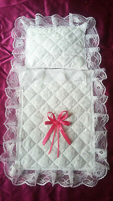 Dolls Pram Set Small Handmade Quilted Broderie Anglaise Lace Hot Pink