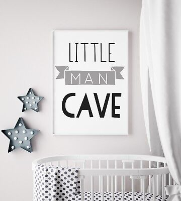 Little Man Cave Banner Grey & Black Nursery Print Kids Bed Boys Wall Art Picture