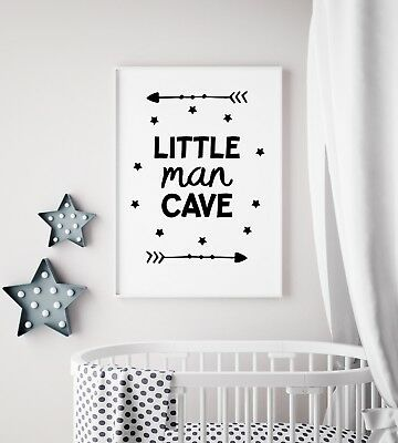 Little Man Cave Arrow Black Nursery Print Kids Bed Room Boys Wall Art Picture