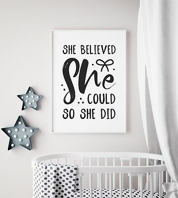 She Believed She Could Baby Black Girls Nursery Print Kid Room Wall Art Picture