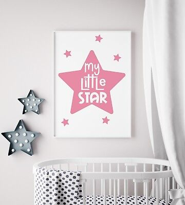 My Little Star Pink & White Print Baby Nursery Kids Room Girls Wall Art Picture