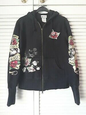 Disney Parks Ladies Mickey Mouse Size L Tattoo Hoodie Zip Top Sailor Jerry Type