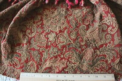 "French Antique c1870 Red Jacquard Valance~Paisley Ethnic~L-17"" X W-26"""