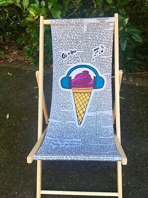 Wooden Deckchair, deck chair fabric,by Anarchy of the Deckchair