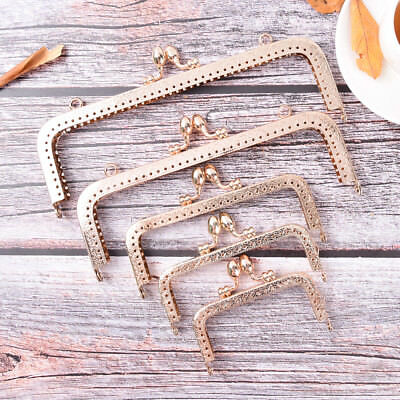 Light Gold DIY Purse Handbag Handle Coin Bag Metal Kiss Clasp Lock Frame Hand HV