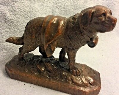 Antique Carved St Bernard 19t C Black Forest