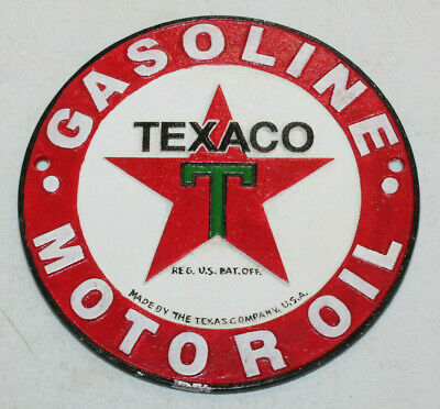 Vintage Style Texaco Motor Oil Signs Cast Iron Gas Station Garage Man Cave