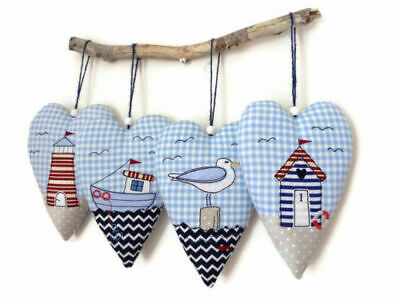 Handmade Nautical Seaside Heart Hanger- BEACH HUT, LIGHTHOUSE, SEAGULL, SAILBOAT