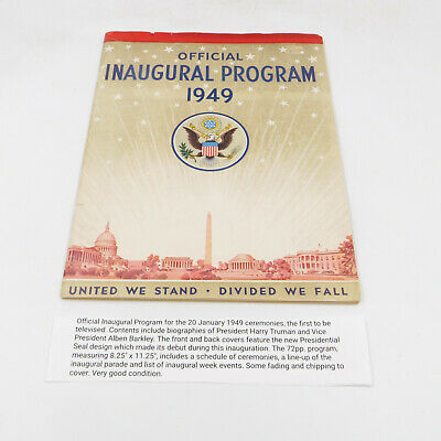 Official Inaugural Program 1949 First Televised Truman Book 11.5x8.5""
