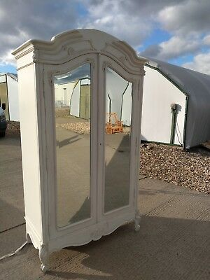 Classical Antique White Mirrored Armoire Wardrobe By Sweetpea & Willow, Mahogany