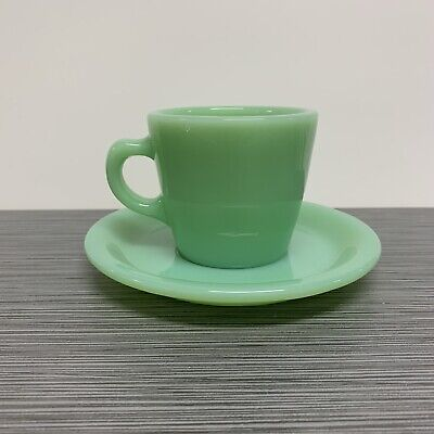 Fire King Jadite / Jadeite / Jade-ite Restaurant Ware 6oz Tall Cup & Saucer Set